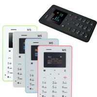 telefones celulares m5 venda por atacado-Livre DHL 4.8 MM Ultra-fino AEKU M5 Cartão Especial de Telefone Celular Chipset (MTK) Bar GSM Tela Colorida Mutilanguage