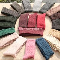 Wholesale Woollen Knees - Wholesale-Women's Girl's Knit Winter Thicken Warm Woollen Over Knee High Socks Jacquard