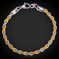 MGC Unisex 2-Tone Rope Couple Pulseira Cadeia para Mulheres / Homens 18K Real Gold Plated / Stainless Steel Bracelet Jóias Chunky Chain GH1152