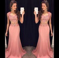 Wholesale Cheap Beautiful Long Sleeve Dress - Cheap Pink Prom Dresses 2015 Beautiful Aline Bateau Hand-beaded Lace Applique Cap Short Sleeves Zipper Back Long Formal Dresses Evening Wear
