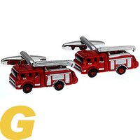 Wholesale Copper Engine - High Quality New Classic Silver Copper Mens Wedding Cufflinks Novelty Rare Fancy Fire Engine & Clean Cloth 171049