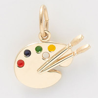 Wholesale Artist Palette Charm - Fashion DIY Made 30pcs a lot Rhodium 18K Gold Plated Colorful Enamel Artist Pendant Paint Brushes Palette Charm With Jump Ring Jewelry