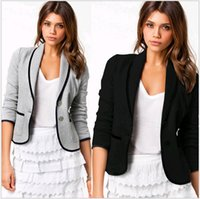 Wholesale Design Jacket For Women - New Blazer Fashion Women Spring Autumn Slim Short Design Turn-down Collar Blazer Grey Black Short Coats Jacket for women Europe Size S-6XL