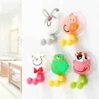 Wholesale Toothbrush Holder Designs - Cute Cartoon Hanging Toothbrush Holders Cute Creative Animals Design Strong Wall Suction Cup Toothpaste Toothbrush Holder Bathroom Set