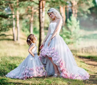 Wholesale Children Evening Wear - 2018 Mother And Daughter Matching Evening Party Dresses High Low Prom Gowns Parent-Child Party Gowns Tulle With Floral Adorned Formal Wear