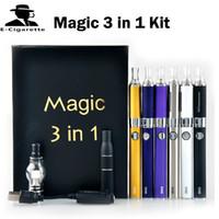 Wholesale Magic Vaporizer - Magic 3 in 1 Wax Vaporizer Pen Kit 650mah Dry Herb electronic cigarettes with atomizer MT3 Glass atomizer EVOD Battery