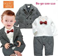 Wholesale Wholesale Boys Dress Coats Winter - Factory Children Clothing Autumn Winter Toddler Baby Gentleman Romper + Suit Coat 2pcs Set Birthday Party 0-4Age Boys Dress Clothes TR77
