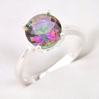 Wholesale Mystic Opal - 10 Pieces 1 lot LuckyShine Superb Round Fire Mystic Topaz Crystal Gems 925 Sterling Silver Rings Russia American Australia Crown Rings
