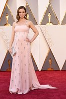 Wholesale Emily Blunt Dresses - 88th Academy Awards 2016 Emily Blunt Pink Beaded Prom Dresses The Oscars Celebrity Dresses Red Carpet Women Evening dresses