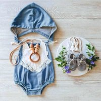 Wholesale baby kids one pieces clothes romper resale online - Wash blue baby rompers with cap mock denim newborn babies one piece clothes toddler fashion jumpersuits kids infant cotton romper