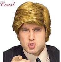 kostüm donald toptan satış-Simüle Saç komik Donald Trump Peruk Yetişkin Kostüm Aksesuarı Milyarder Saç Peruk Aday Fantezi Saç Klipler