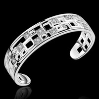 Wholesale Sterling Silver Solid Bangles - Vintage Retro Jewelry bangles 925 solid silver b221 gift Pouches box Free Pulseira de Prata bracelets