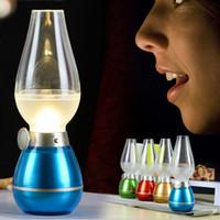 Wholesale Novelty Usb Mice - LED Retro Lamp Lamps Novelty Lighting USB Rechargeable Blowing Kerosene Adjustable Blow On-Off Night Light Home Decroration