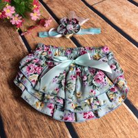 Wholesale Girls Rosette Headband - NEW ARRIVAL baby girl kids infant toddler underwear rose flower floral bloomers shorts short pants BB pants + bowknot rosette headband 8