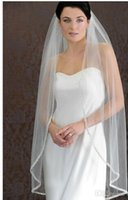 Wholesale Bead Sellers - 2015 Hot Seller White Ivory off White Short Wedding Veil Beading Edge Two Layers Elbow Length Free Shipping