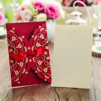 Inviti di nozze Laser Cut Invitation Cards per la carta rossa di nozze Hollow Birthday Invitation + printing + Envelopes