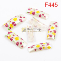 Wholesale Mini French Tips - 100pcs Lovely color mini flowers work pattern design half cover french nail art tips acrylic half false nails art fake nail tips F445