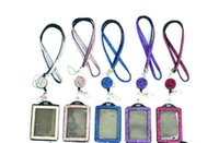 Wholesale Dimond Necklaces - Dimond girl Badge Holder Rhinestone Lanyard Bling Crystal Necklace Badge Card Holder for Business Id key cell Phone