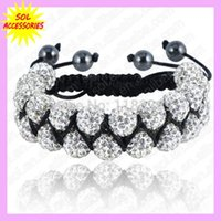 Wholesale Double Row Shamballa - Wholesale-Double Row Beads Shamballa Bracelets 10mm Disco Ball Crystal Shamballa Bracelet Mix Colors Options free shipping