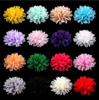 Wholesale Chiffon Flower Heads For Headbands - Chiffon Flowers For Baby Girl Headwear Girls Head Flower Hair Accessories Fabric Chiffon Flowers With children's headdress 1587