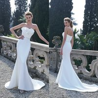Wholesale Inexpensive Bridal Sashes - Simple and Elegant Inexpensive Wedding Dresses 2016 Spring Mermaid Strapless Sleeveless Ruched Satin Bridal Gowns Beading Belt Court Train