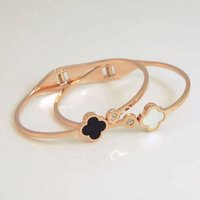 Wholesale Stainless Steel Clover Bracelet - 2016 Classic Fashion stainless steel Design Four-leaf Clover Bangle &Bracelet Inlaid Authentic Shell fashion bijoux women Jewelry 160619