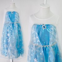 Wholesale Girls Guaze - Elsa dress princess clothing girls guaze dress princess party dress elsa snow queen costume dress Anna dress elsa dress (1701012)
