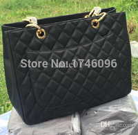 Wholesale Celebrity Pink Bag - Wholesale-Luxury Brand Designer Caviar Leather Shopper Women Genuine Leather Tote GST Handbags Celebrity Quilted Shoulder Bags Bolsas