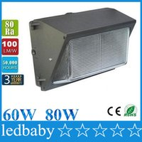 Wholesale Outdoor Floodlight Fixtures - LED Wall Pack 60W 80W fixture light FloodLight 7000LM Wash Lamp Energy Savings efficient FACTORY DIRECT building outdoor lighting DHL Free