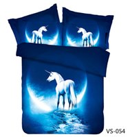 Unicorn Blue Six Pieces 3D-Bettwäsche-Sets Tröster Set Duvet Cases Kissenbezüge Flachbettlaken Heimtextilien König Dame Full Size Günstige