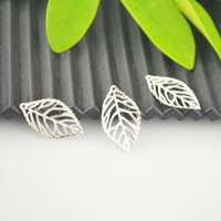 """Wholesale Leaf Findings - Finding - 500Pcs Silver Plated Hollow Leaf Charm Pendants 24x13mm(1""""x4 8"""") Jewelry Making"""