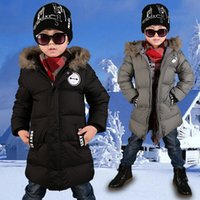 Wholesale Parka Children - Winter Boys Jacket Boy Warm Thick Outwear Parkas Parkas Fur Children Casual Hooded Jackets Coat Free Shipping