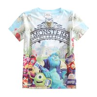 Wholesale Wholesale University Clothing - Boys Cartoon T-shirt Monsters University 3D printing fashion short sleeve shirt Children sports cotton clothes DHL free MOQ:10pcs SVS0311#