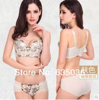 Wholesale Front Hook Bras - Wholesale-[ABCD CUP]New 2015 Four Hook-And-Eye Super Push Up Bra Set,6Colors Deep V Embroidery Bra And Panty Set,Underwear For Women