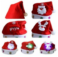 Cloth santa hat led - LED Christmas Hat Kids Adults Santa Claus Snowman Reindeer Elk Hats Xmas Party Gifts Cap OOA3467