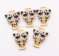 Wholesale Wholesale Cheetah Jewelry - DIY Fashion Charm Sideways Leopard Connector Beads Rhinestone Crystal Cheetah Connectors Jewelry Findings FEAL ZBE127 Charms
