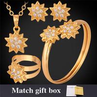 altın kaplamalı kostüm mücevheratı toptan satış-Yeni 18 K Altın Kaplama Rhinestone Yıldız Kostüm Takı Setleri Kolye Küpe Manşet Bileklik Yüzük Mücevherat Hediye Kadınlar Için MGC N1199