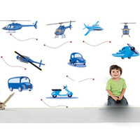 Wholesale Helicopter Room Decor - Cute Airplanes Car Helicopters Bus Wall Sticker Decor Decals Kids Nursery C01