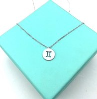 Wholesale Horoscope Astrology Zodiac - 10PCS- N090 Zodiac Gemini Necklace Signs 12 Constellation Necklace Horoscope Astrology Disc Pendant Necklaces for Birthday Gift