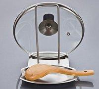 capas de rack venda por atacado-Acessórios de cozinha em aço inoxidável pote tampa prateleira organizador de cozinha tampa da panela tampa rack stand esponja titular colher de prato rack