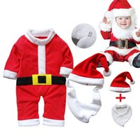 Wholesale Tutu Design For Baby - Santa design jumpsuit for infant baby body suit christmas rompers santa claus clothes set 3 in 1 lot free shipping