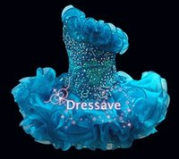 Wholesale Sparkle Royal Blue Dress - 2017 Glitz Strapless A Line Cupcake Organza Girls Pageant Dresses Sparkle Beading Formal Girls Party Prom Gowns Handmade Flowe BO6562
