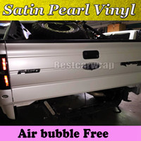 Wholesale Car Wrap Pearl White - Premium Satin Pearl white vinyl wrap for Car wrap film pearlescent Car Wrapping film Full Vehicle covering with air free 1.52x20m 5x67ft