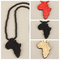 Wholesale Statement Pieces Wholesale - Wholesale- Hot Sale One Piece Unisex Women Wooden Rosary Bead Africa Map Long Chain Pendant Statement Necklace Sweater Gift Jewelry S1003
