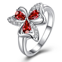 Nova chegada Fashion 925 Sterling Silver Jewelry Sparkly Ruby com CZ Crystal Stones Clover Rings For Women Flower Zircon Rings Jewelry