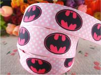 Wholesale Grosgrain Ribbon Printed Brand - hot sale 7 8'' (22mm) pink dots batman printed grosgrain ribbons brand logo ribbon hair accessories 100 yards