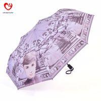 Wholesale Audrey Hepburn Fabric - Wholesale-Audrey Hepburn Style Automatic 3 Fold Women Windproof Sun Uv Protection Clear Rain Umbrellas For Sale 2015 Chinese Famous Brand