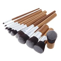 Wholesale eyeshadow logo - 11pcs set Bamboo Handle Makeup Brushes Professional Foundation Eyeshadow Blush Cosmetic Makeup Brushes Set Kit Pouch NO LOGO 2805014