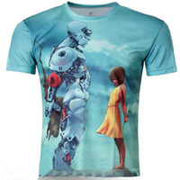 Wholesale Robot Love - Wholesale-Hot Selling Men Fashion Short Sleeve 3D T Shirts Men's Rain drops Sky Dandelion Robot love Line Printing 3d T Shirt