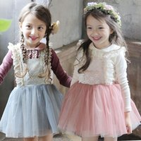 Wholesale Child Skirt Cute - 2016 Baby Girls Spring Suspender Lace Gauze Dress two piece Suits (long sleeve tshirt+ skirt) Children Vest Princess Dress Sets Girl outfits